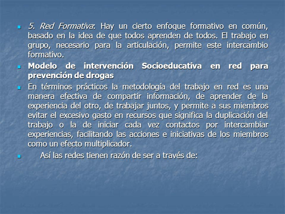 5. Red Formativa: Hay un cierto enfoque formativo en común, basado en la idea de que todos aprenden de todos. El trabajo en grupo, necesario para la articulación, permite este intercambio formativo.