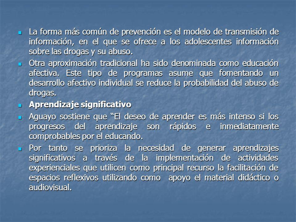 La forma más común de prevención es el modelo de transmisión de información, en el que se ofrece a los adolescentes información sobre las drogas y su abuso.