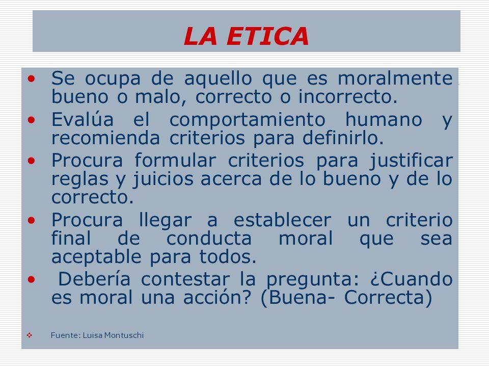LA ETICA Se ocupa de aquello que es moralmente bueno o malo, correcto o incorrecto.