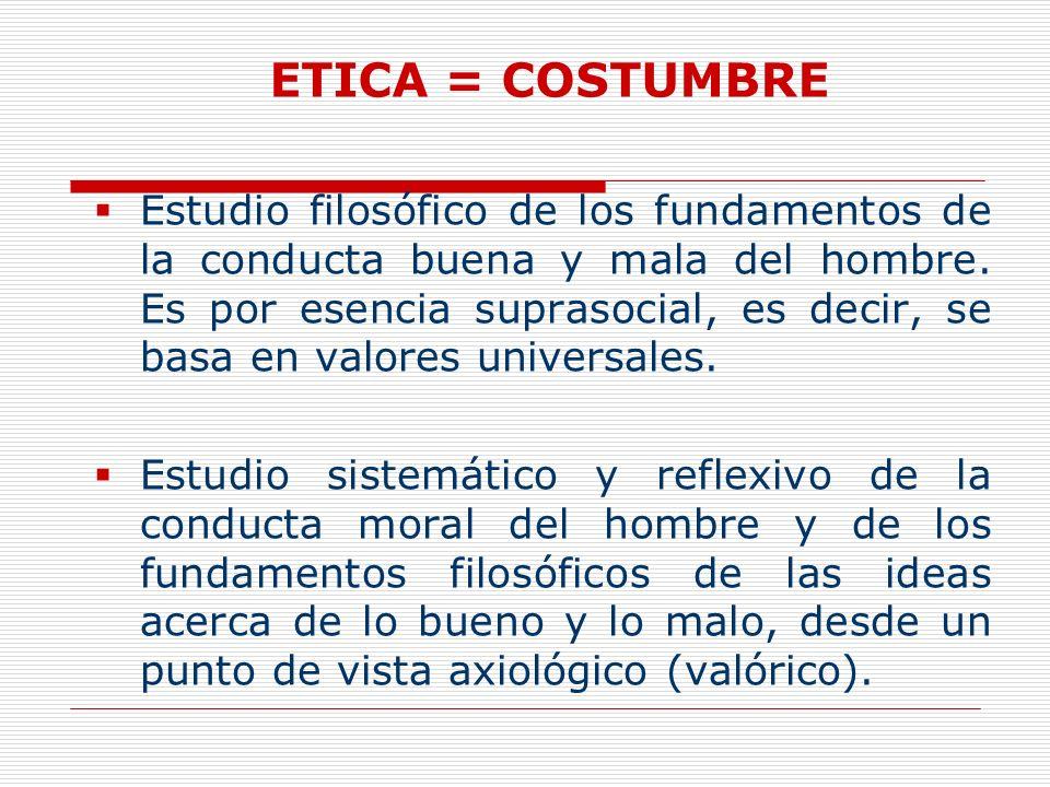 ETICA = COSTUMBRE