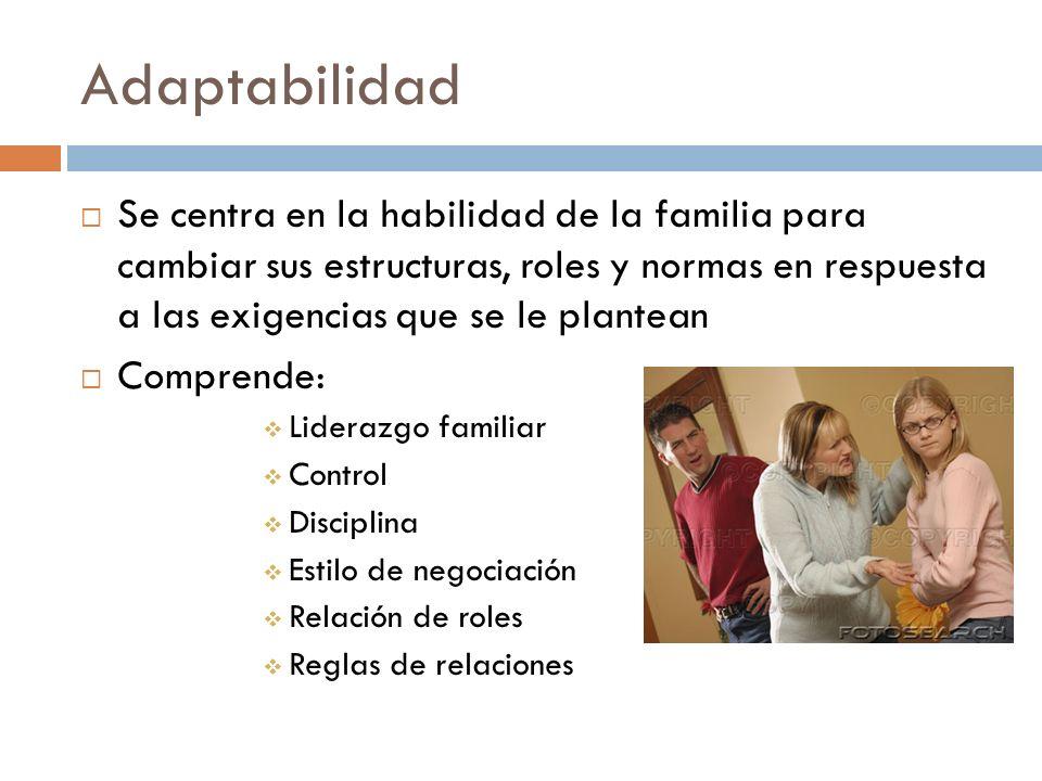 Adaptabilidad Se centra en la habilidad de la familia para cambiar sus estructuras, roles y normas en respuesta a las exigencias que se le plantean.