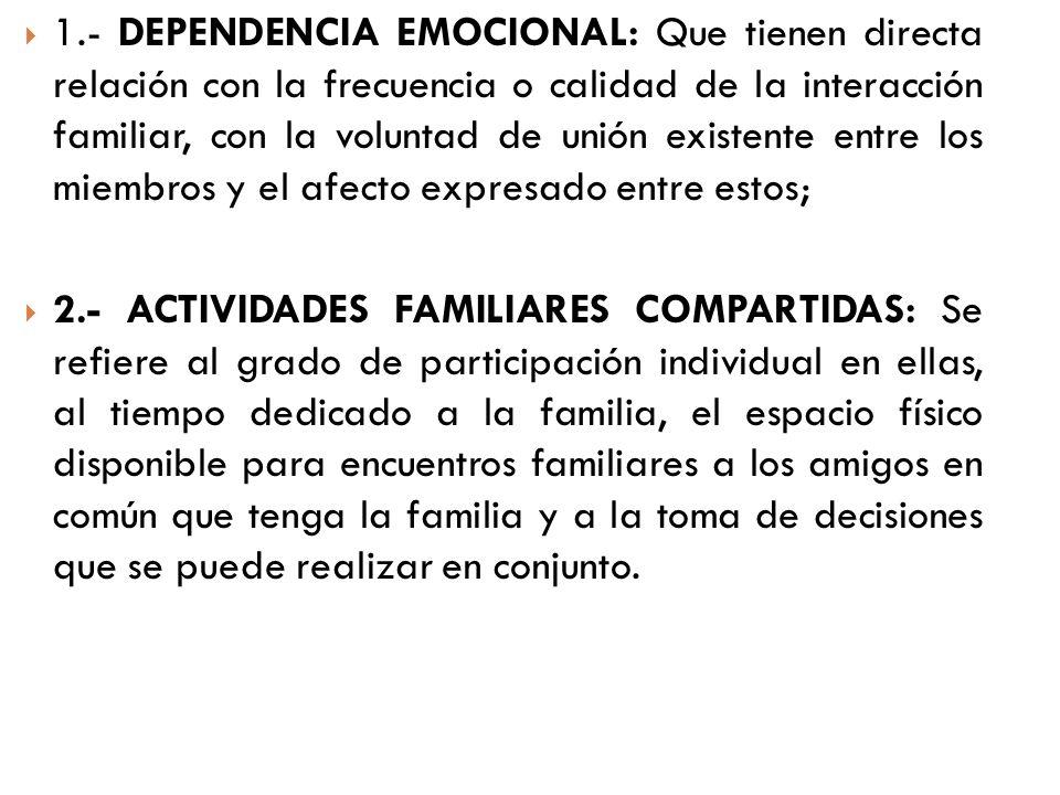 1.- DEPENDENCIA EMOCIONAL: Que tienen directa relación con la frecuencia o calidad de la interacción familiar, con la voluntad de unión existente entre los miembros y el afecto expresado entre estos;