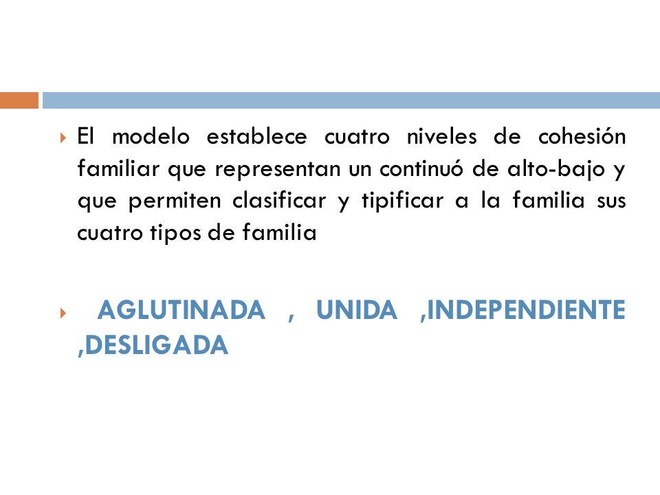 El modelo establece cuatro niveles de cohesión familiar que representan un continuó de alto-bajo y que permiten clasificar y tipificar a la familia sus cuatro tipos de familia