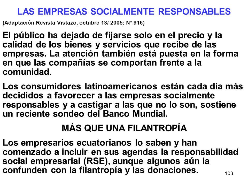LAS EMPRESAS SOCIALMENTE RESPONSABLES MÁS QUE UNA FILANTROPÍA