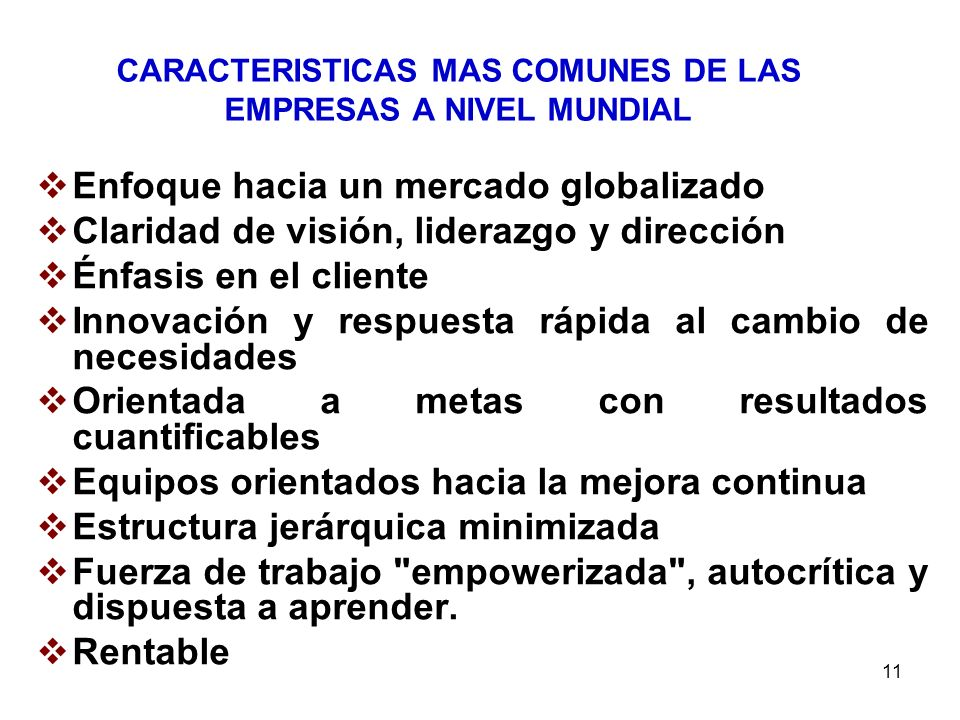 CARACTERISTICAS MAS COMUNES DE LAS EMPRESAS A NIVEL MUNDIAL