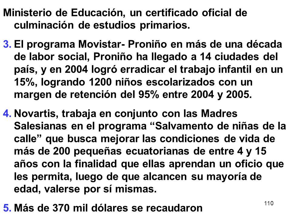 Ministerio de Educación, un certificado oficial de culminación de estudios primarios.