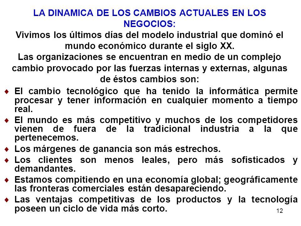 LA DINAMICA DE LOS CAMBIOS ACTUALES EN LOS NEGOCIOS: Vivimos los últimos días del modelo industrial que dominó el mundo económico durante el siglo XX. Las organizaciones se encuentran en medio de un complejo cambio provocado por las fuerzas internas y externas, algunas de éstos cambios son: