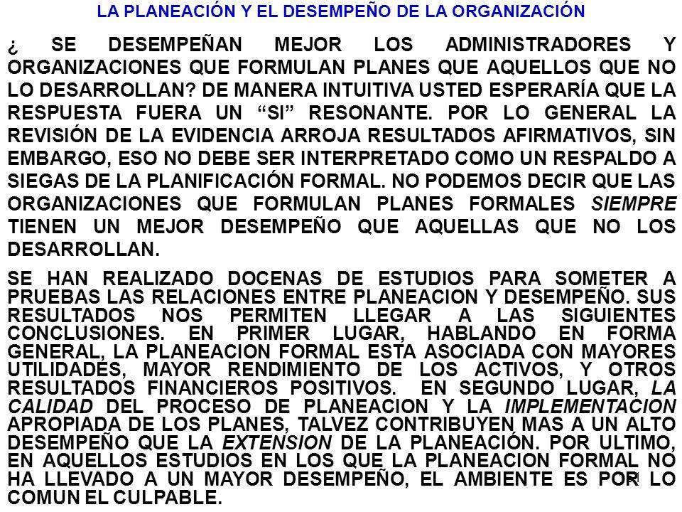 LA PLANEACIÓN Y EL DESEMPEÑO DE LA ORGANIZACIÓN