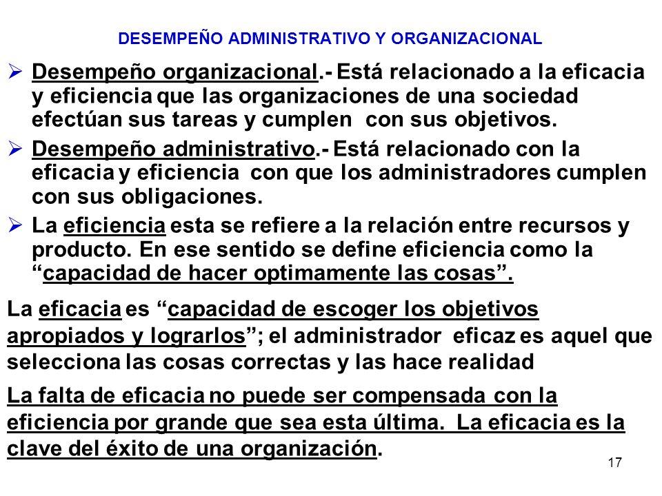DESEMPEÑO ADMINISTRATIVO Y ORGANIZACIONAL