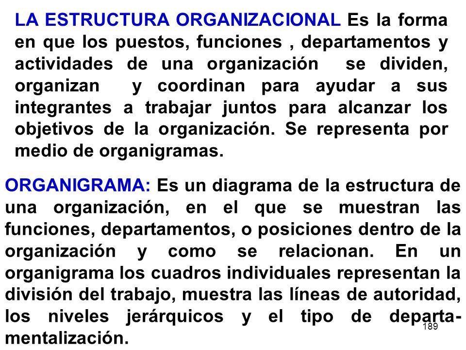 LA ESTRUCTURA ORGANIZACIONAL Es la forma en que los puestos, funciones , departamentos y actividades de una organización se dividen, organizan y coordinan para ayudar a sus integrantes a trabajar juntos para alcanzar los objetivos de la organización. Se representa por medio de organigramas.