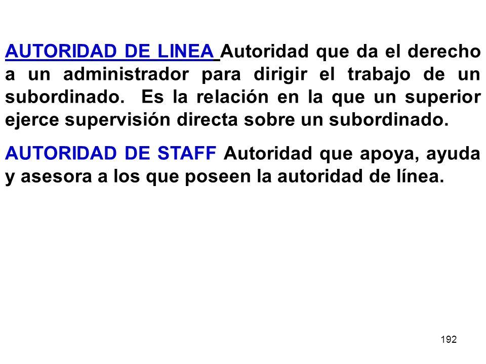 AUTORIDAD DE LINEA Autoridad que da el derecho a un administrador para dirigir el trabajo de un subordinado. Es la relación en la que un superior ejerce supervisión directa sobre un subordinado.