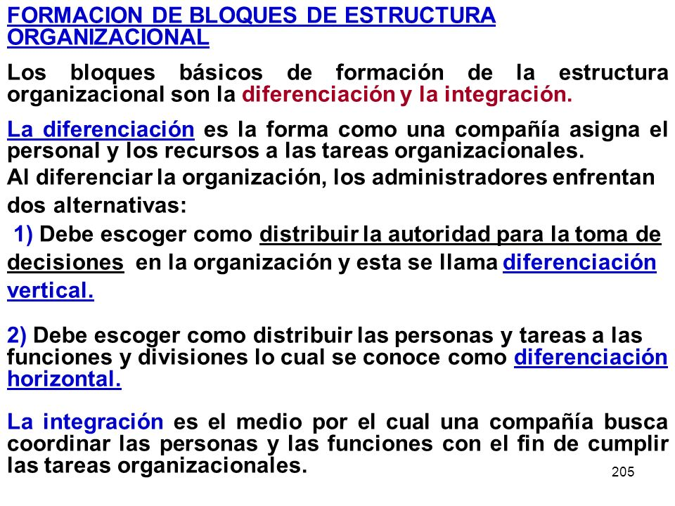 FORMACION DE BLOQUES DE ESTRUCTURA ORGANIZACIONAL