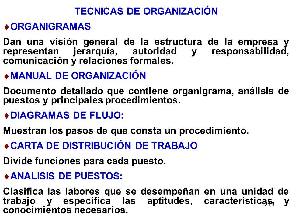 TECNICAS DE ORGANIZACIÓN