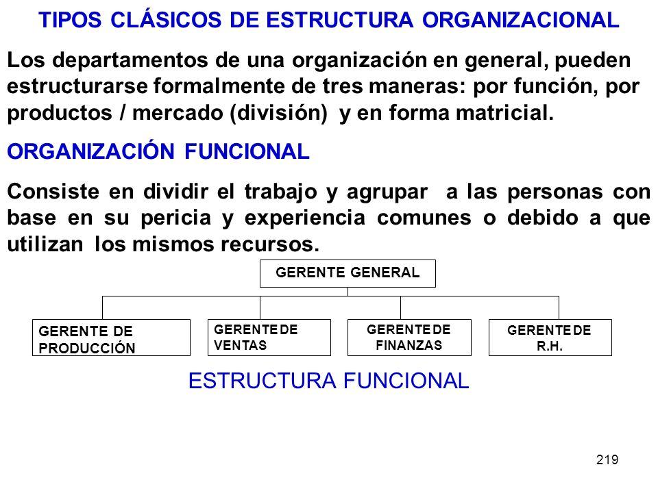 TIPOS CLÁSICOS DE ESTRUCTURA ORGANIZACIONAL