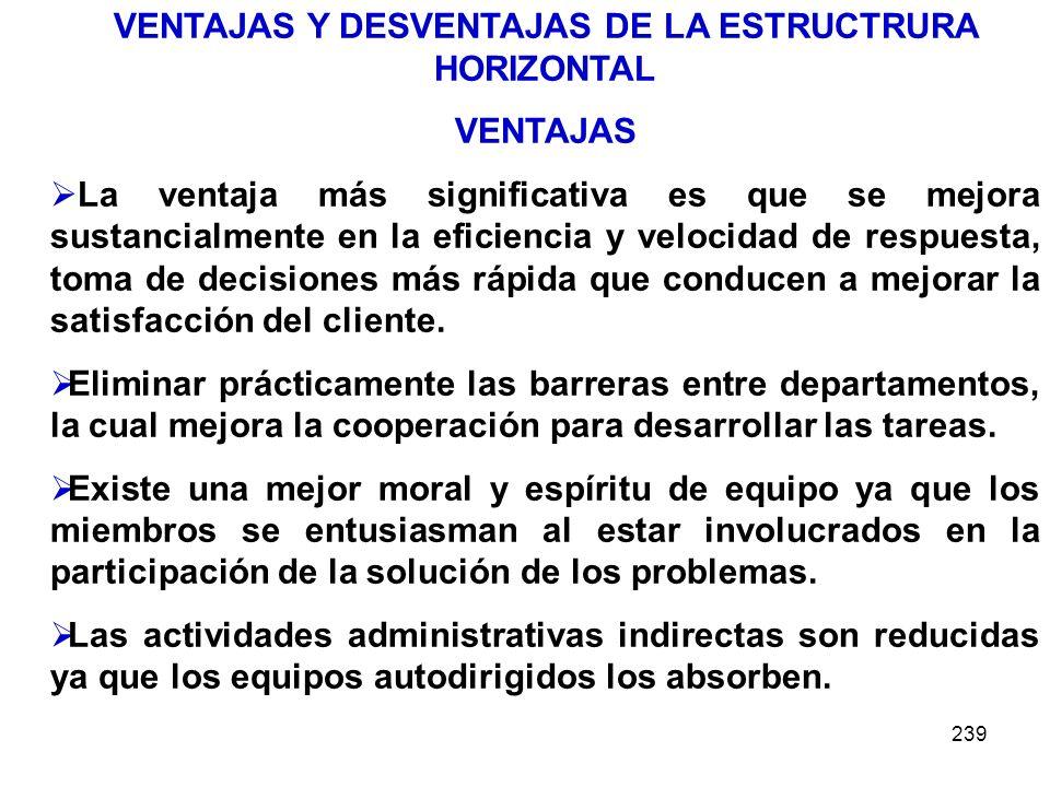 VENTAJAS Y DESVENTAJAS DE LA ESTRUCTRURA HORIZONTAL