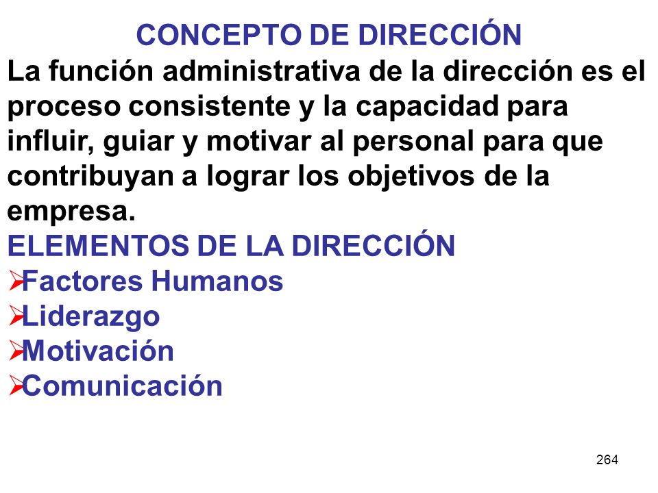 CONCEPTO DE DIRECCIÓN