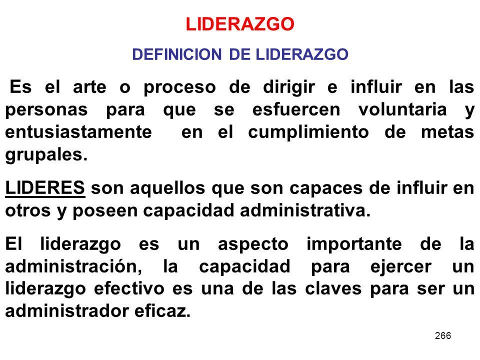 DEFINICION DE LIDERAZGO