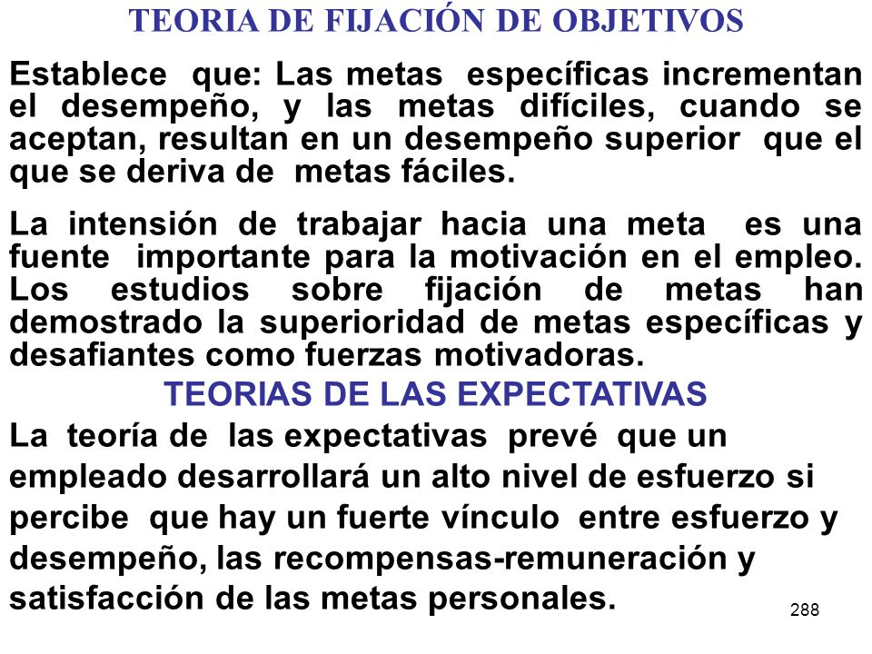TEORIA DE FIJACIÓN DE OBJETIVOS TEORIAS DE LAS EXPECTATIVAS