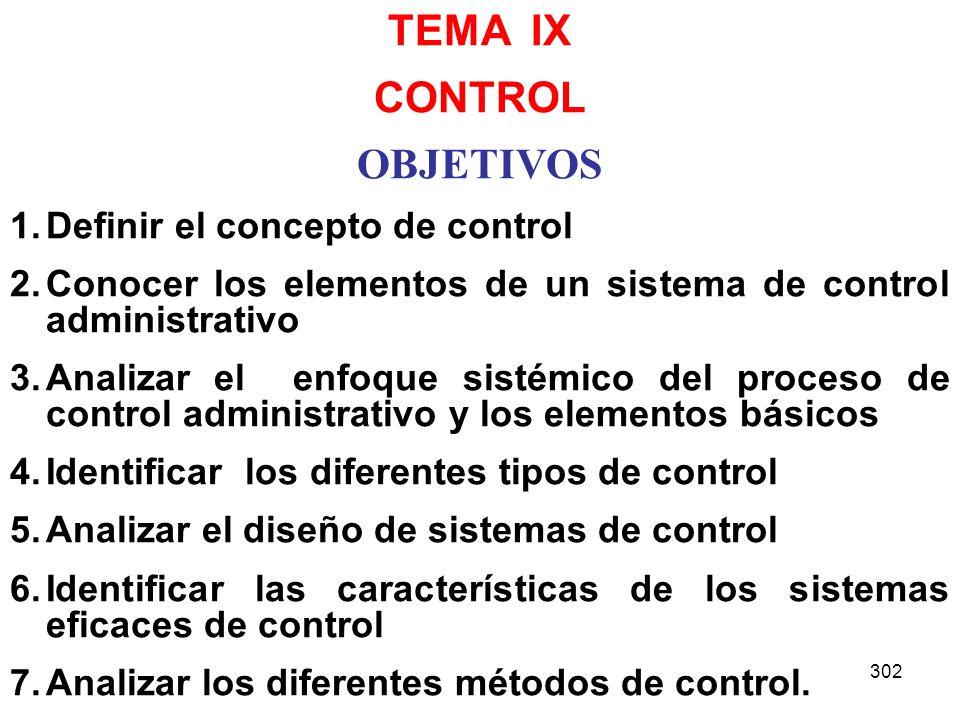 TEMA IX CONTROL OBJETIVOS Definir el concepto de control