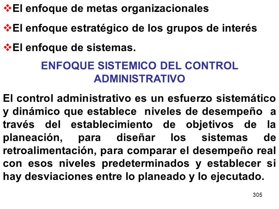 ENFOQUE SISTEMICO DEL CONTROL ADMINISTRATIVO