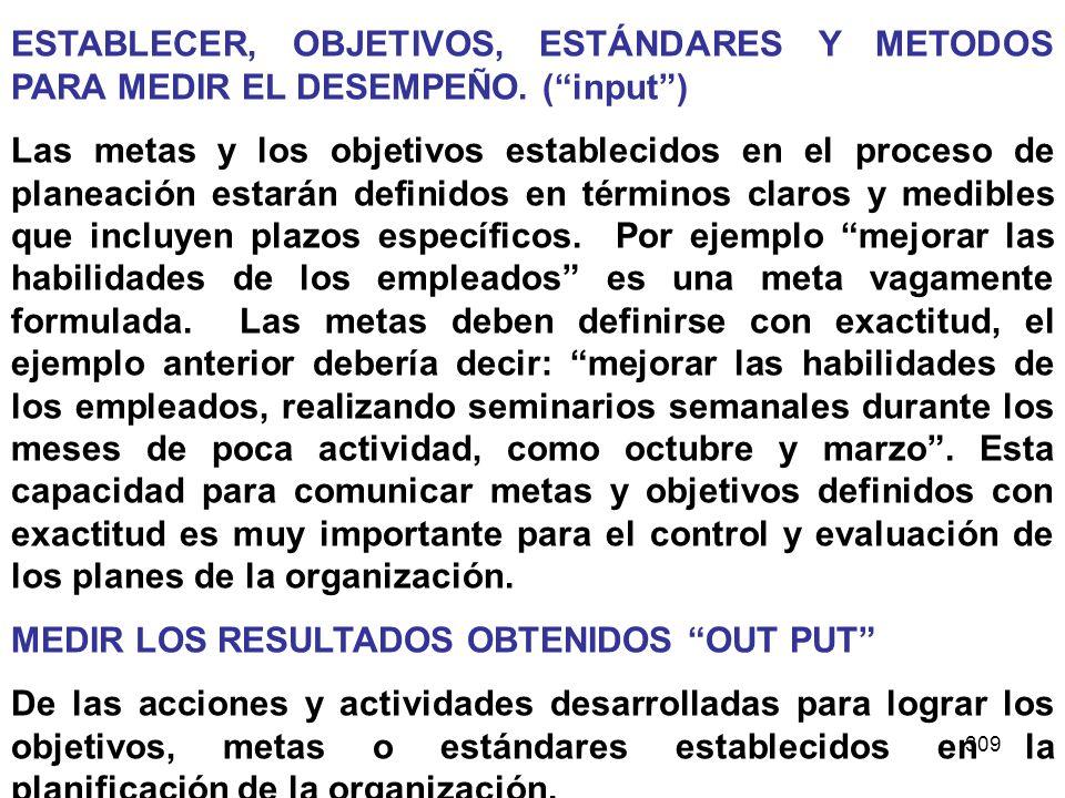 ESTABLECER, OBJETIVOS, ESTÁNDARES Y METODOS PARA MEDIR EL DESEMPEÑO
