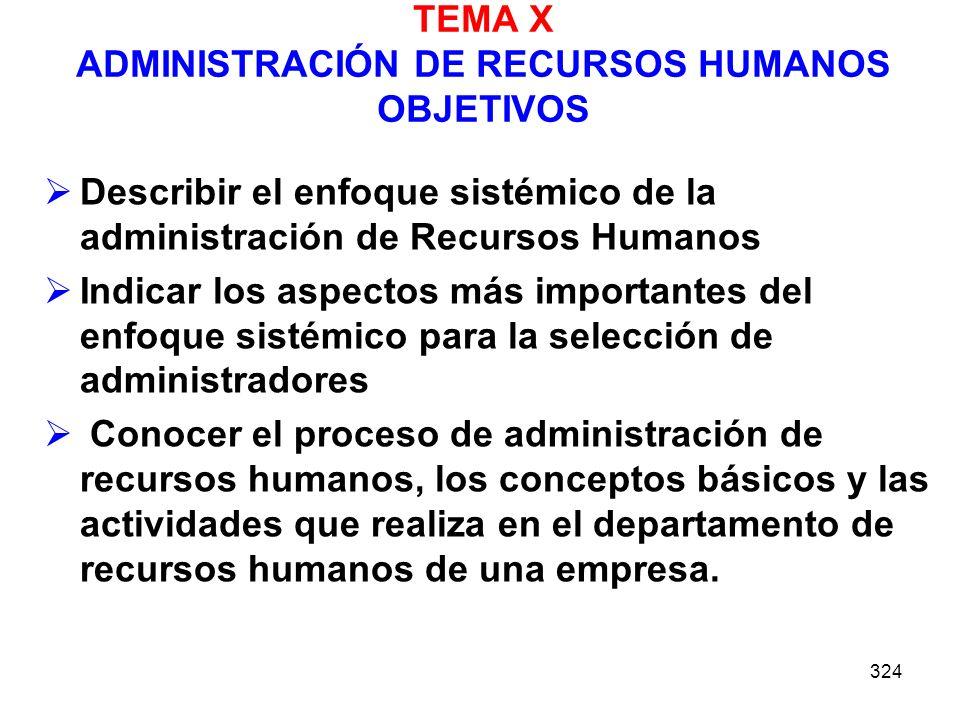 TEMA X ADMINISTRACIÓN DE RECURSOS HUMANOS OBJETIVOS