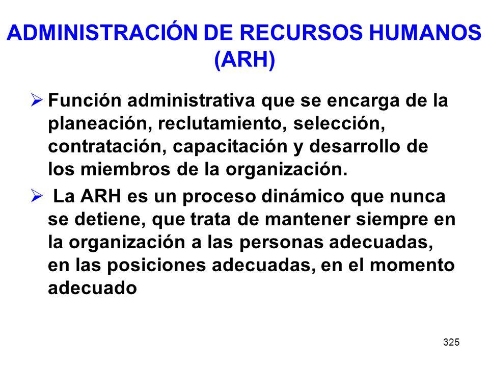 ADMINISTRACIÓN DE RECURSOS HUMANOS (ARH)