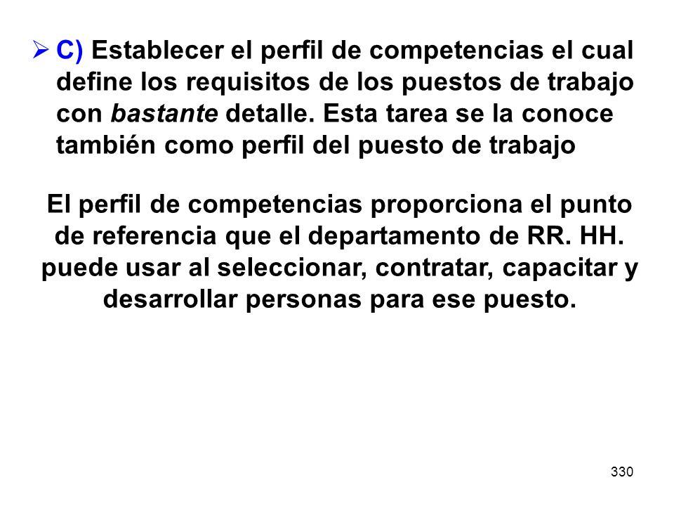 C) Establecer el perfil de competencias el cual define los requisitos de los puestos de trabajo con bastante detalle. Esta tarea se la conoce también como perfil del puesto de trabajo