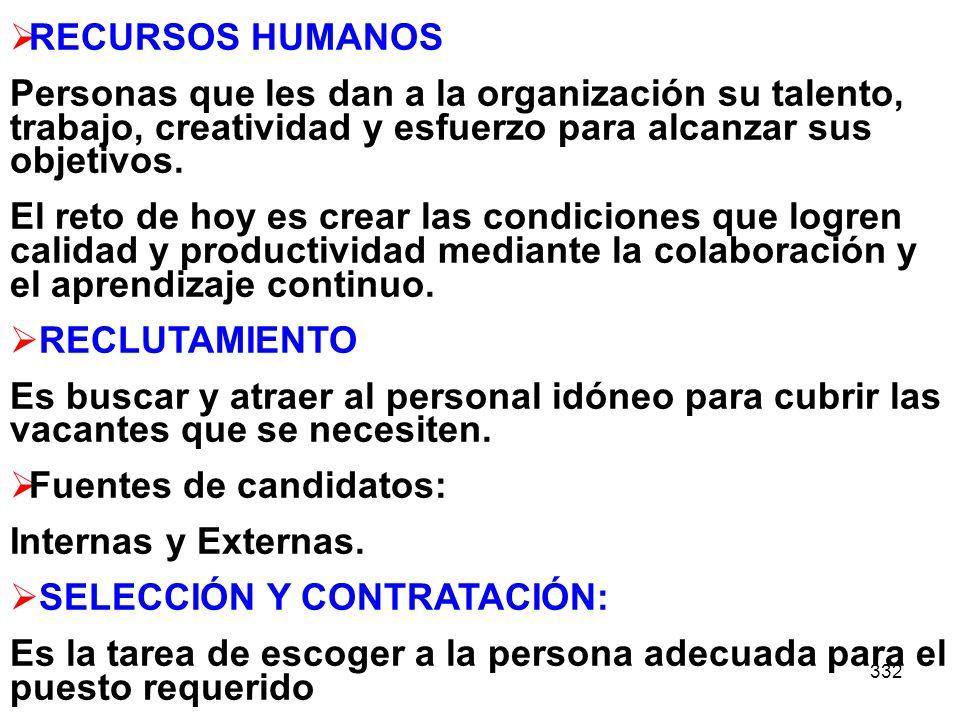 RECURSOS HUMANOS Personas que les dan a la organización su talento, trabajo, creatividad y esfuerzo para alcanzar sus objetivos.