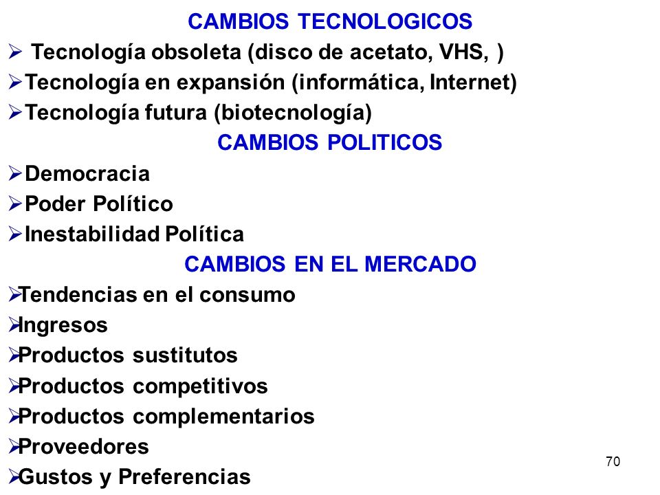 CAMBIOS TECNOLOGICOS Tecnología obsoleta (disco de acetato, VHS, ) Tecnología en expansión (informática, Internet)