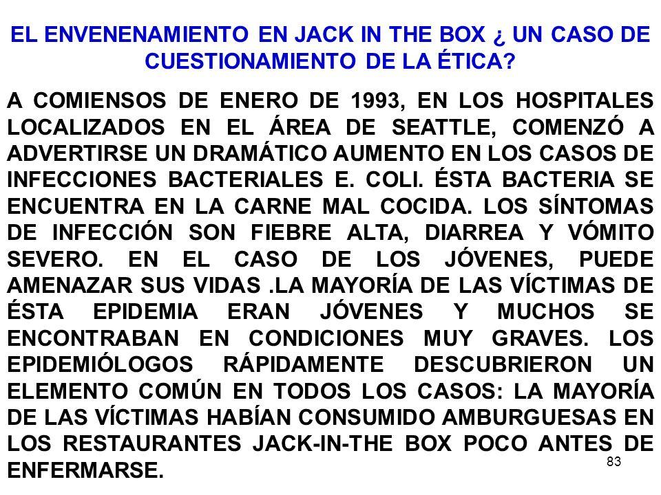 EL ENVENENAMIENTO EN JACK IN THE BOX ¿ UN CASO DE CUESTIONAMIENTO DE LA ÉTICA