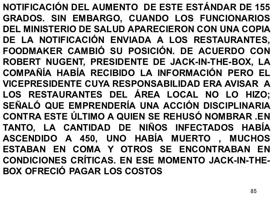 NOTIFICACIÓN DEL AUMENTO DE ESTE ESTÁNDAR DE 155 GRADOS
