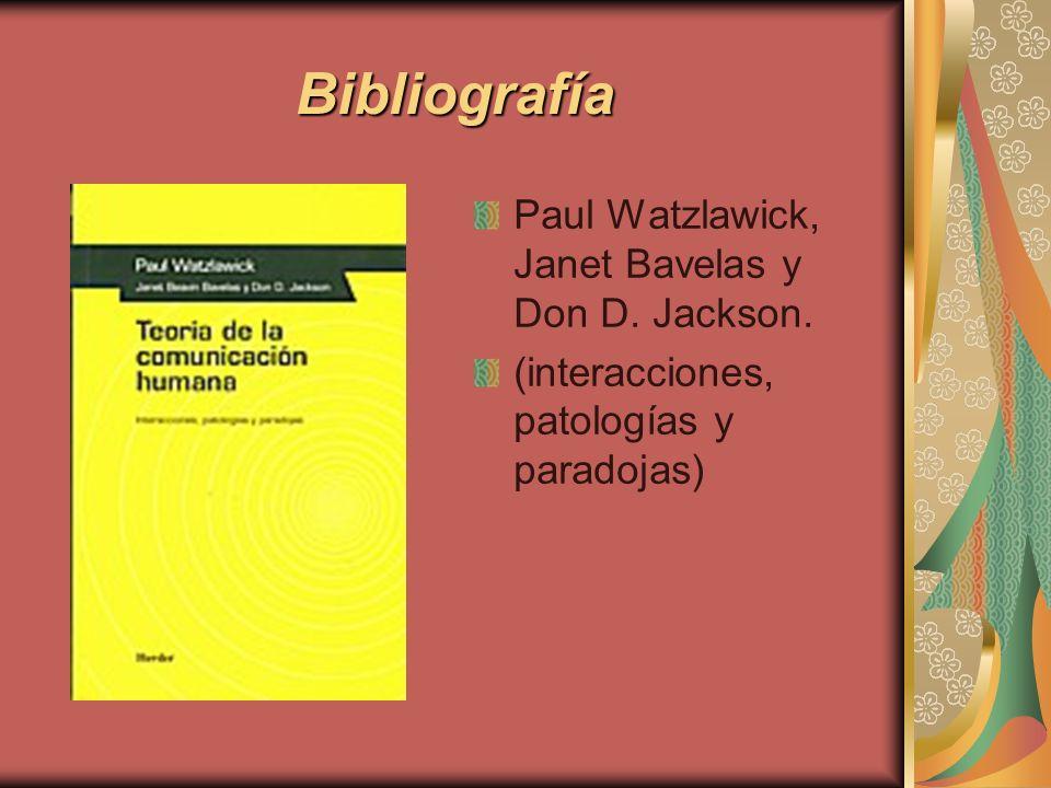 Bibliografía Paul Watzlawick, Janet Bavelas y Don D. Jackson.