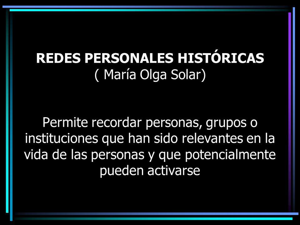 REDES PERSONALES HISTÓRICAS ( María Olga Solar) Permite recordar personas, grupos o instituciones que han sido relevantes en la vida de las personas y que potencialmente pueden activarse