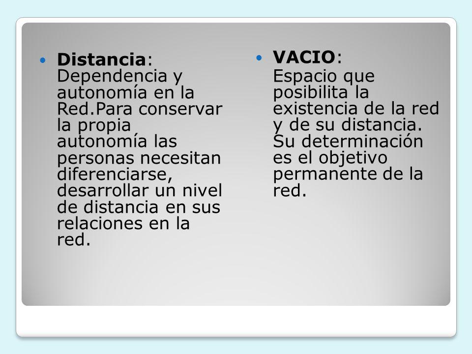 VACIO:Espacio que posibilita la existencia de la red y de su distancia. Su determinación es el objetivo permanente de la red.