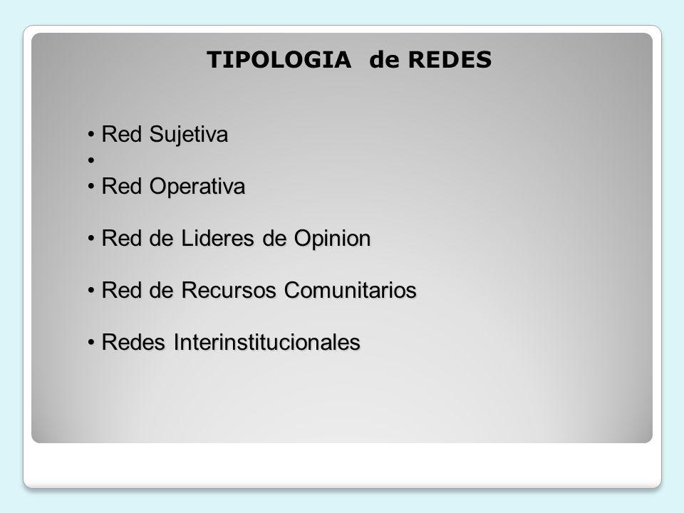 TIPOLOGIA de REDES Red Sujetiva. Red Operativa. Red de Lideres de Opinion. Red de Recursos Comunitarios.