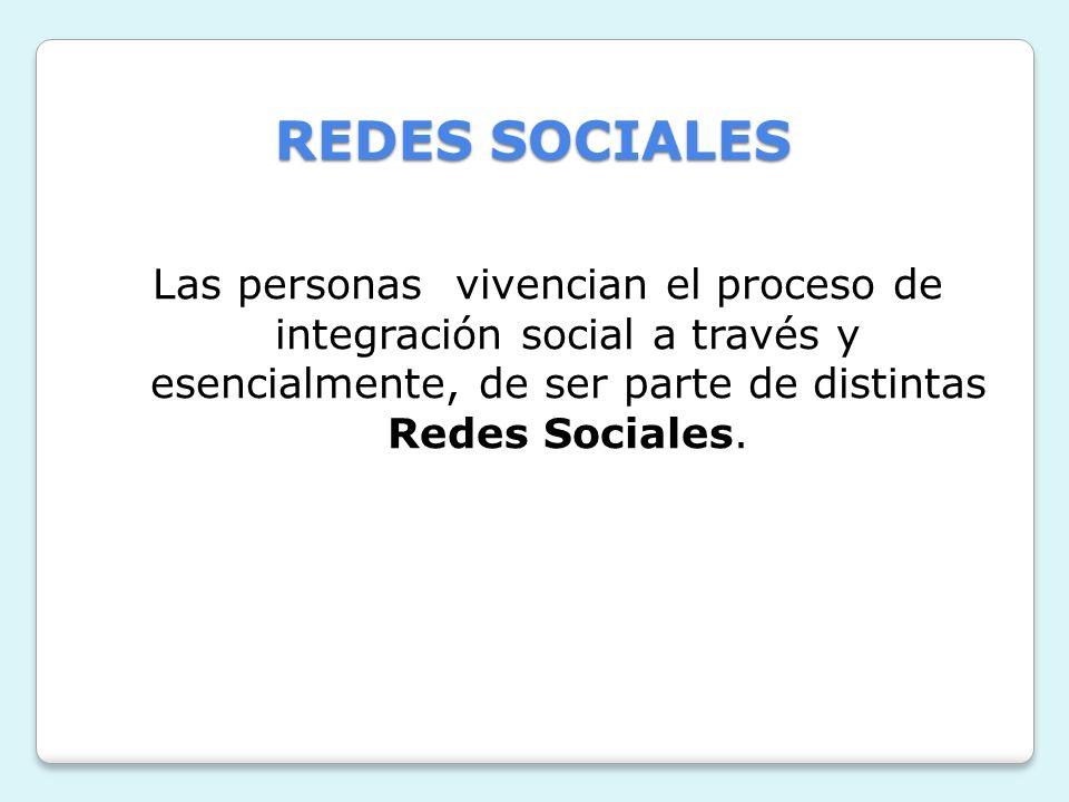 REDES SOCIALESLas personas vivencian el proceso de integración social a través y esencialmente, de ser parte de distintas Redes Sociales.