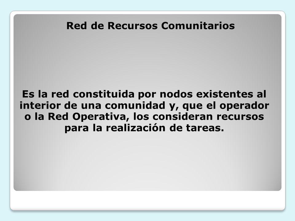 Red de Recursos Comunitarios para la realización de tareas.