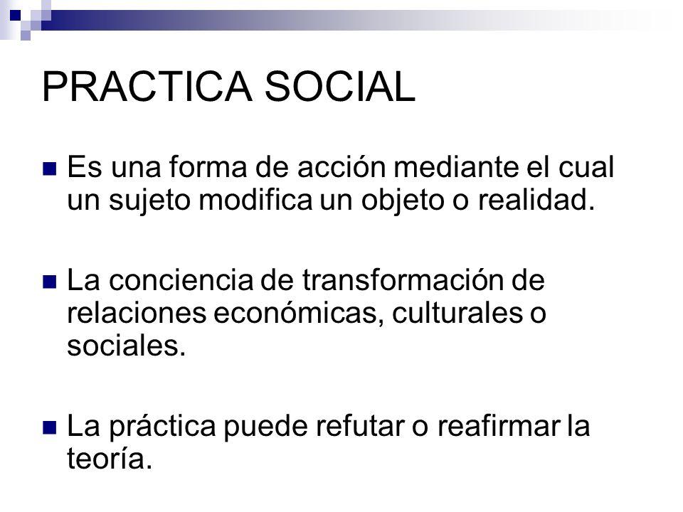 PRACTICA SOCIALEs una forma de acción mediante el cual un sujeto modifica un objeto o realidad.