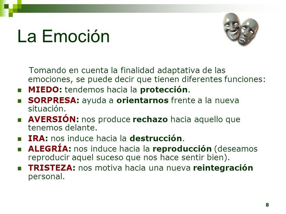 La Emoción Tomando en cuenta la finalidad adaptativa de las emociones, se puede decir que tienen diferentes funciones: