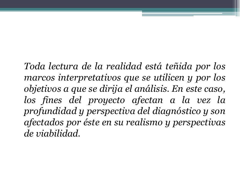 Toda lectura de la realidad está teñida por los marcos interpretativos que se utilicen y por los objetivos a que se dirija el análisis.