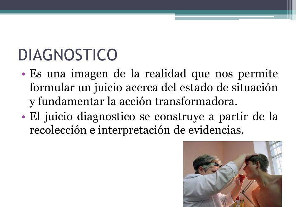 DIAGNOSTICO Es una imagen de la realidad que nos permite formular un juicio acerca del estado de situación y fundamentar la acción transformadora.