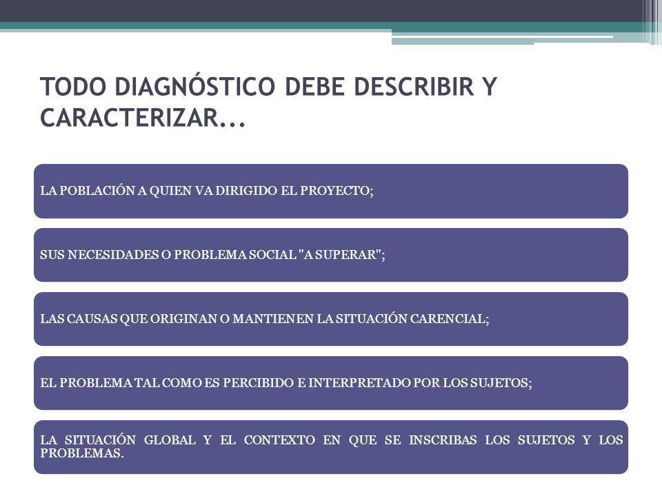 TODO DIAGNÓSTICO DEBE DESCRIBIR Y CARACTERIZAR...
