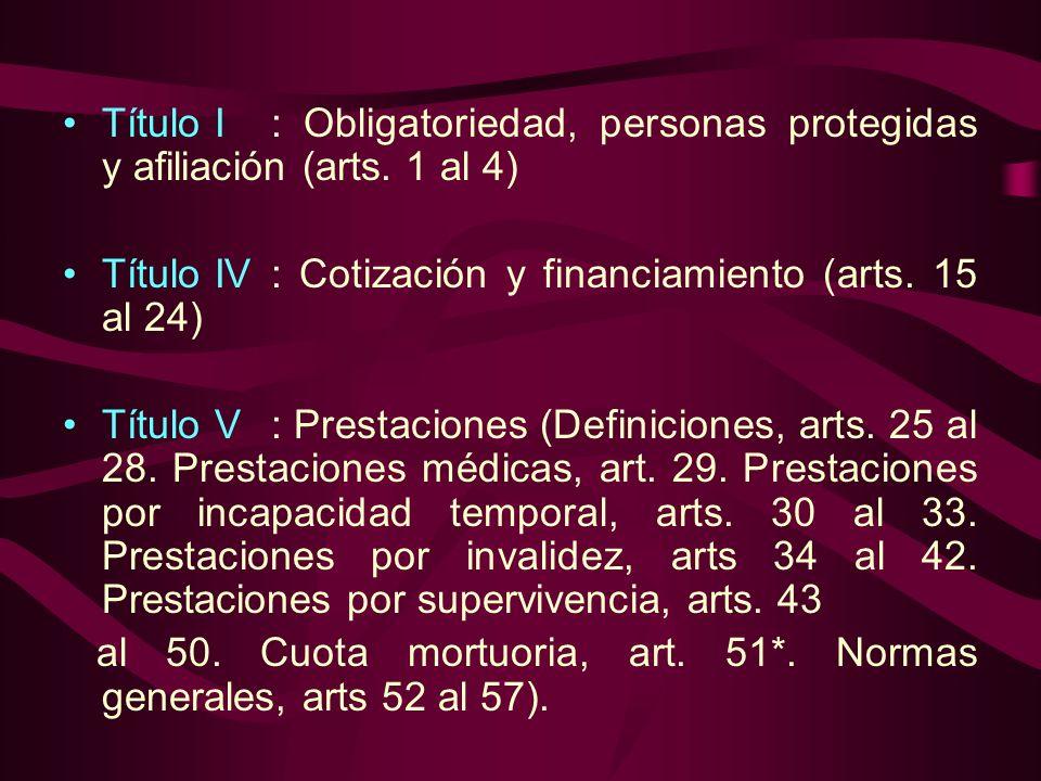 Título I. : Obligatoriedad, personas protegidas y afiliación (arts