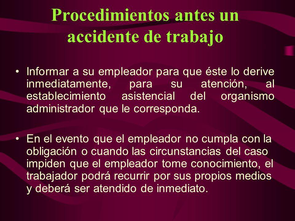 Procedimientos antes un accidente de trabajo