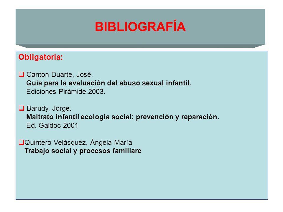 BIBLIOGRAFÍA Obligatoria: Canton Duarte, José.