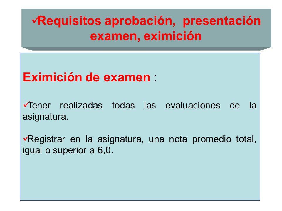 Requisitos aprobación, presentación examen, eximición