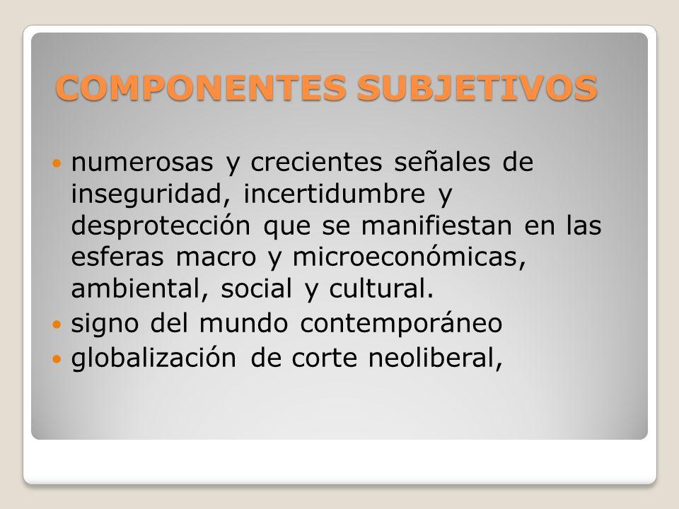 COMPONENTES SUBJETIVOS