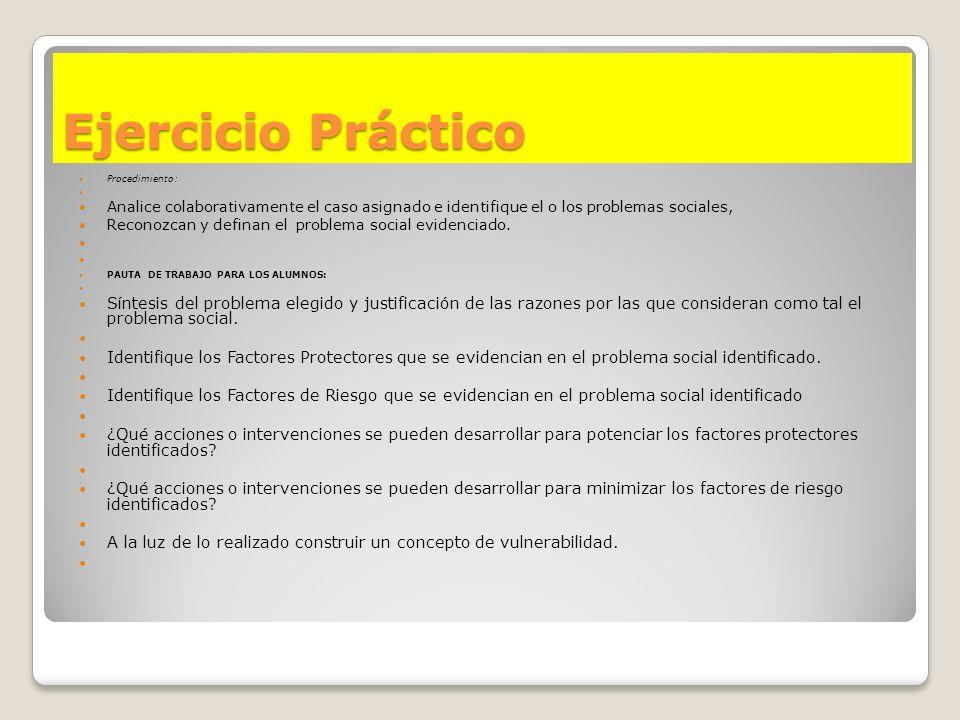 Ejercicio Práctico Procedimiento: Analice colaborativamente el caso asignado e identifique el o los problemas sociales,