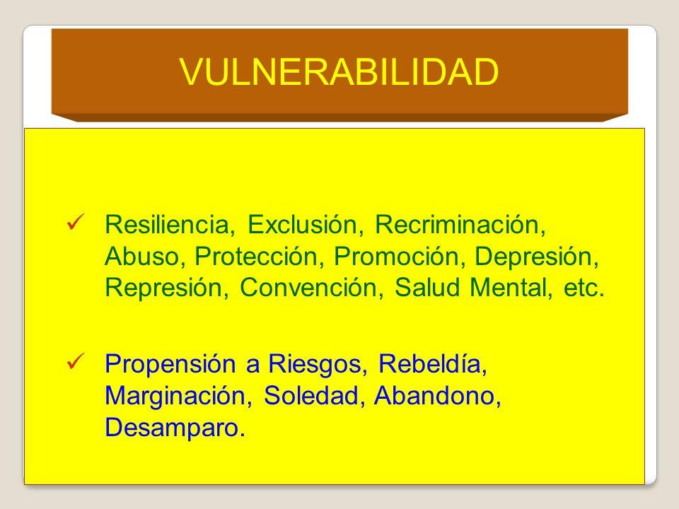 VULNERABILIDAD Resiliencia, Exclusión, Recriminación, Abuso, Protección, Promoción, Depresión, Represión, Convención, Salud Mental, etc.